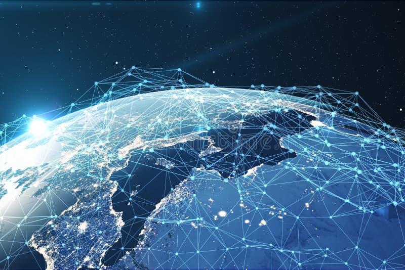 3D teruggevende Netwerk en gegevensuitwisseling over aarde in ruimte Verbindingslijnen rond Aardebol globaal vector illustratie