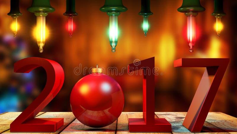 3D teruggevende 2017 Nieuwjaren rode cijfers met een rode Kerstmisbal royalty-vrije illustratie