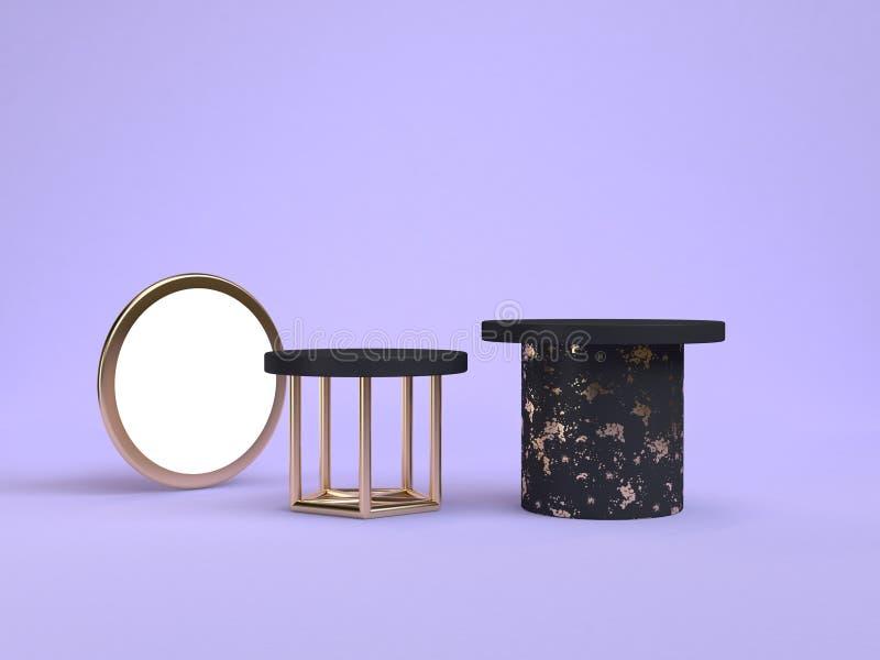 3d teruggevende purper-violette scène zwart podium geometrische vorm royalty-vrije illustratie