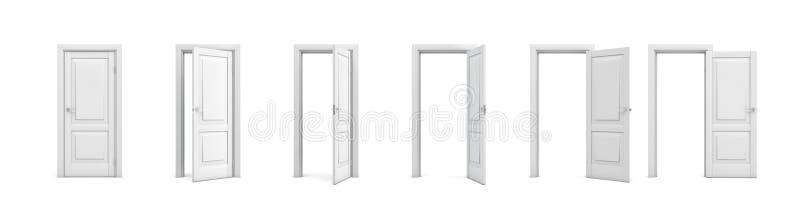 3d teruggevende reeks witte houten deuren in verschillende stadia van het openen vector illustratie