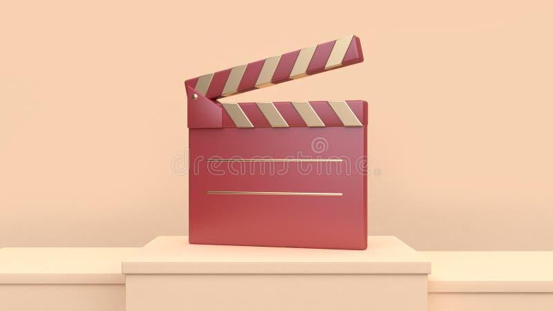 3d teruggevende rode gouden concept van de de filmmakerbioskoop van de filmlei vector illustratie