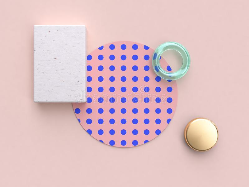 3d teruggevende roze blauwe patroon houten minimale abstracte vlakte legt achtergrond royalty-vrije illustratie
