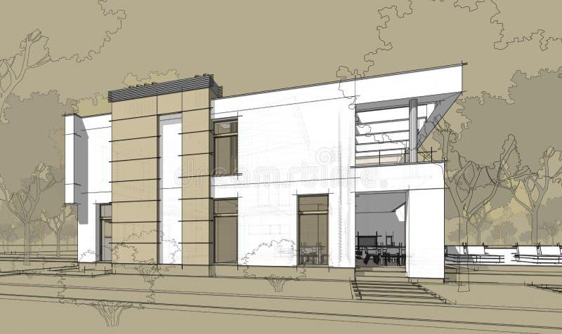 3d teruggevende schets van modern comfortabel huis vector illustratie