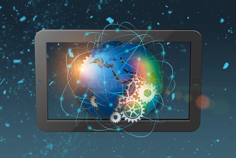 3D teruggevende technologie abstracte achtergrond, concept globale mededeling royalty-vrije stock fotografie