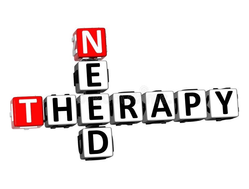 3D Teruggevende Therapie van de Kruiswoordraadselbehoefte over Witte Achtergrond stock illustratie