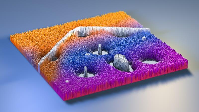 3d teruggevende topografie met kubussen vector illustratie