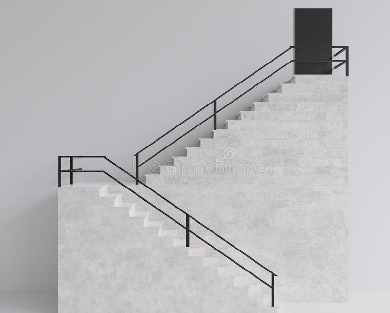 3d teruggevende Tredenstap die minimale stijl bouwen stock illustratie