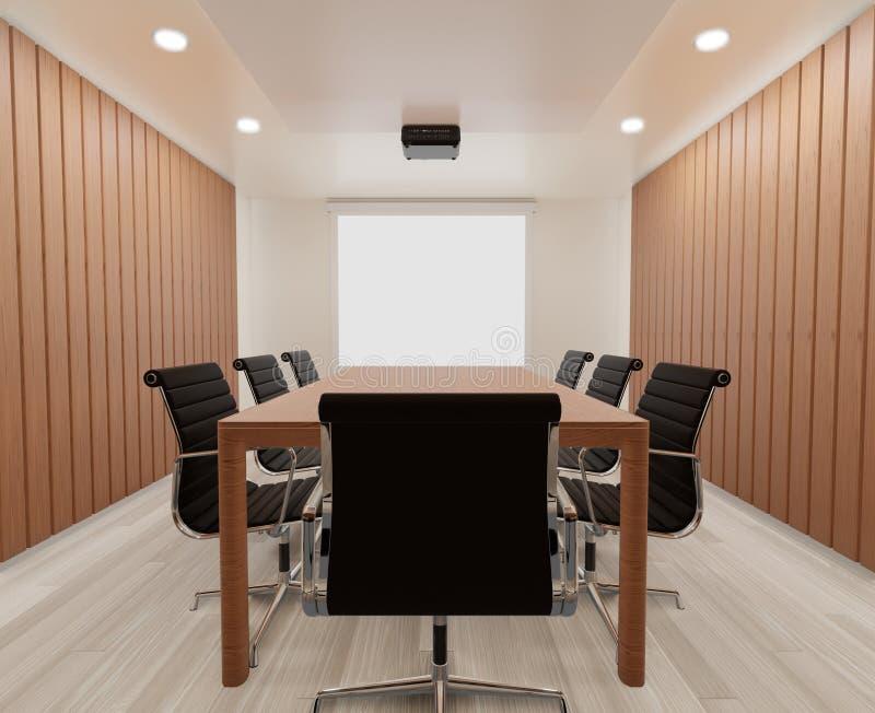 3D teruggevende vergaderzaal met omhoog stoelen, houten lijst, spot, exemplaarruimte royalty-vrije stock afbeelding