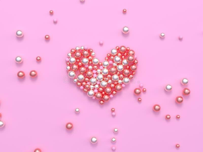 3d teruggevende vorm van het gebiedhart het glanzende roze concept van de de valentijnskaartgift van de liefdeverrassing vector illustratie