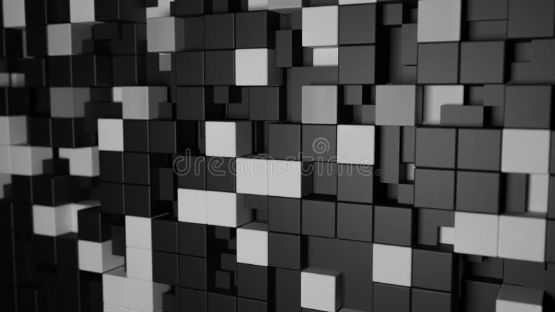 3d teste padrão, fundo preto e branco do sumário do cubo ilustração royalty free