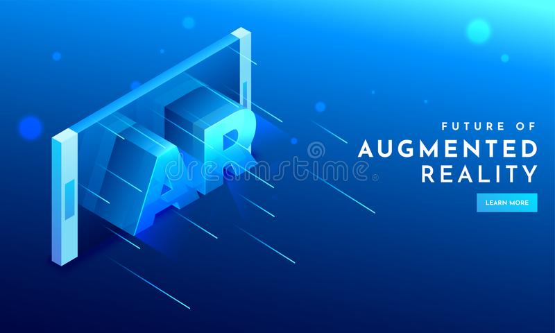 3D text AR on smartphone screen for Futuristic technology Augmented Reality. Can be used for website and mobile app as landing pa. Ge design stock illustration