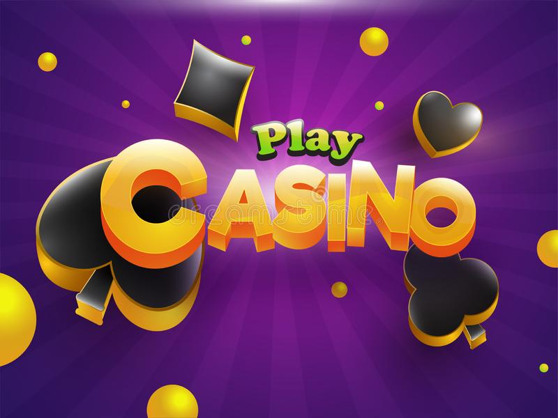 3D text Casino with spade, heart, diamond and club symbols on purple rays background. For gambling night party celebration concept vector illustration