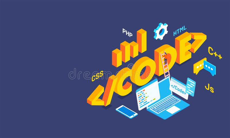 3D text Code with multiple coding languages signs, business equipments and laptop on blue background. Isometric design for. Software programing royalty free illustration