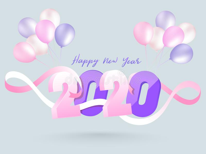 3D text 2020 decorated with pink ribbon and balloons bunch on grey background for Happy New Year. royalty free illustration