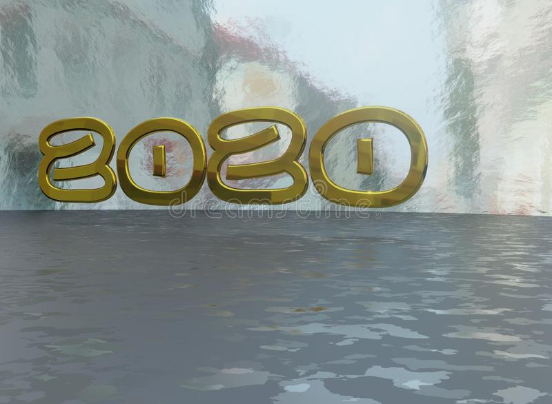 2020 3D text graphics  stock illustration