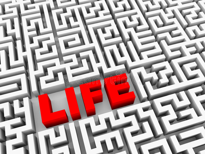 3d text life in puzzle maze vector illustration