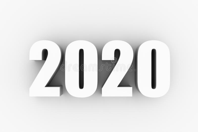 3D text of new year 2020 royalty free stock image
