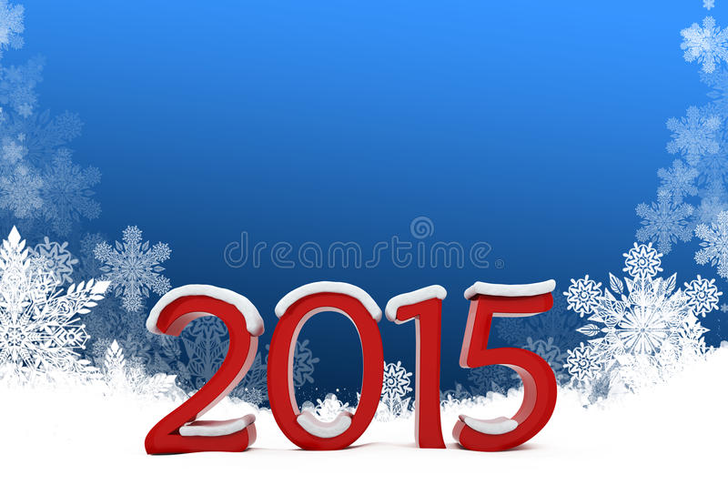 3d 2015 text with snowflakes background stock illustration