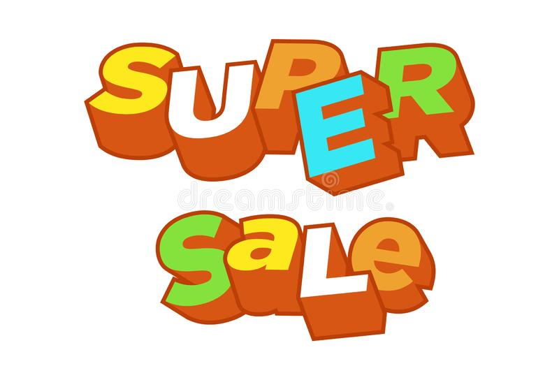3D text super sale background, percent off. Colorfull polygonal trendy style object. Big Sale banner. Eps10, royalty free illustration