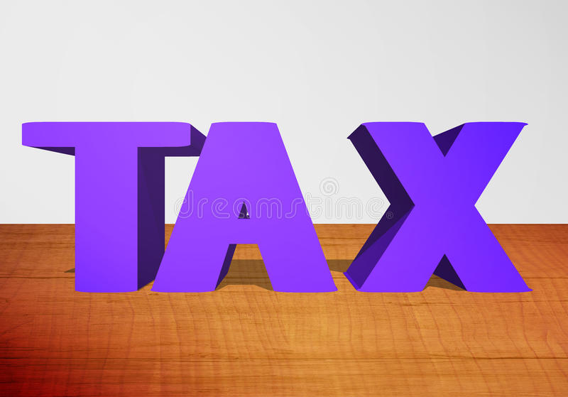 3D Text TAX. In wood Background stock photo