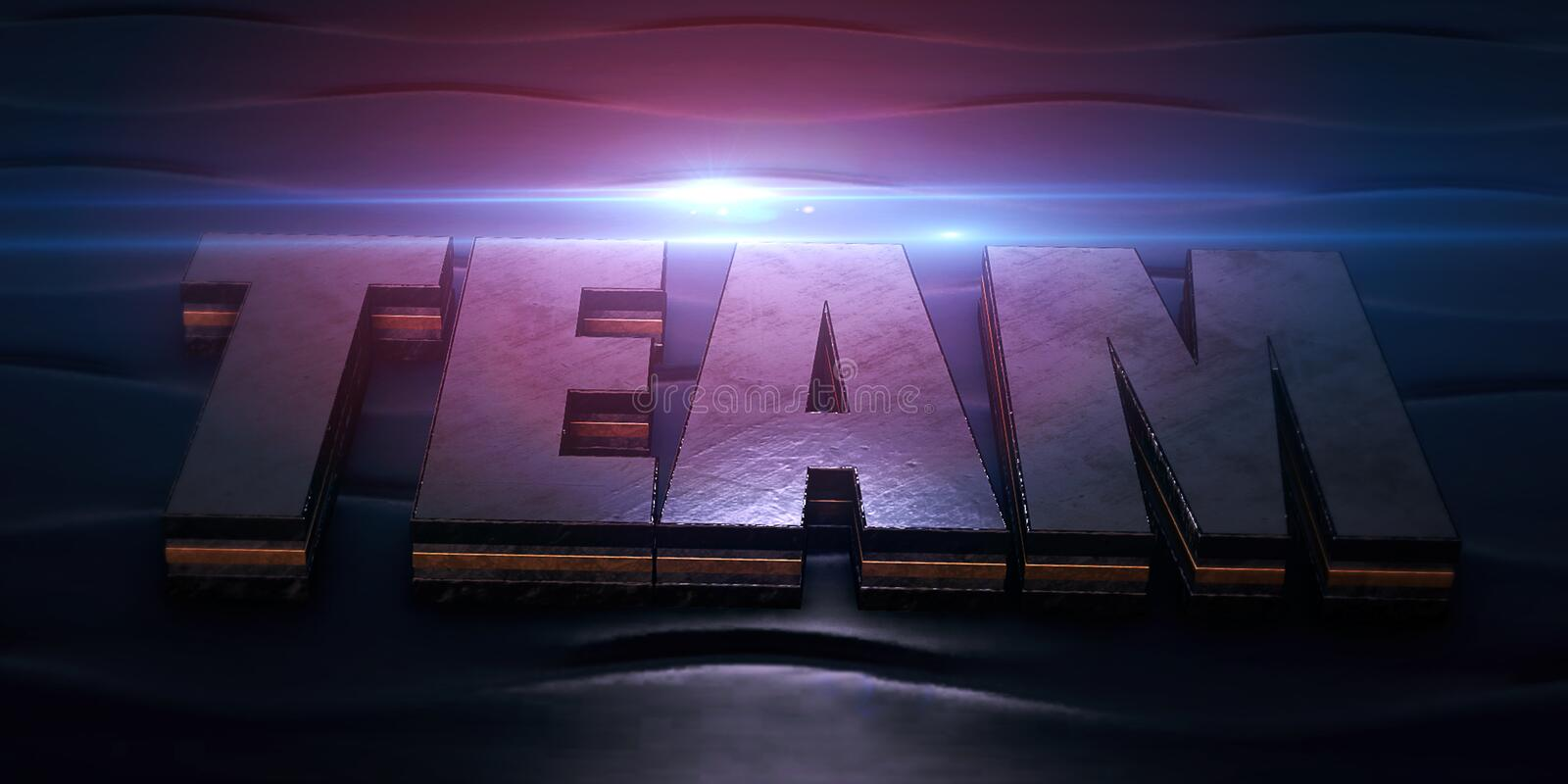 3D text team from metal texture on blue background with blue lens flare. Teamwork, business concept stock image