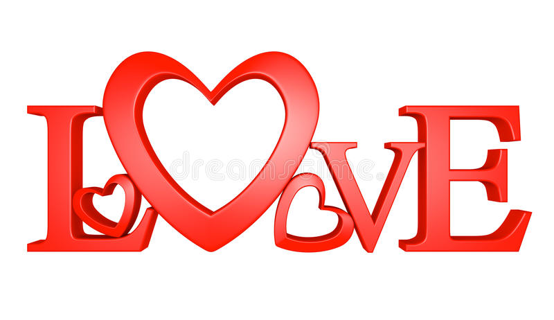 3D text of the word love with one letter forming a heart shape. Three-dimensional text spelling the word LOVE. A valentine heart shape forms the O stock illustration