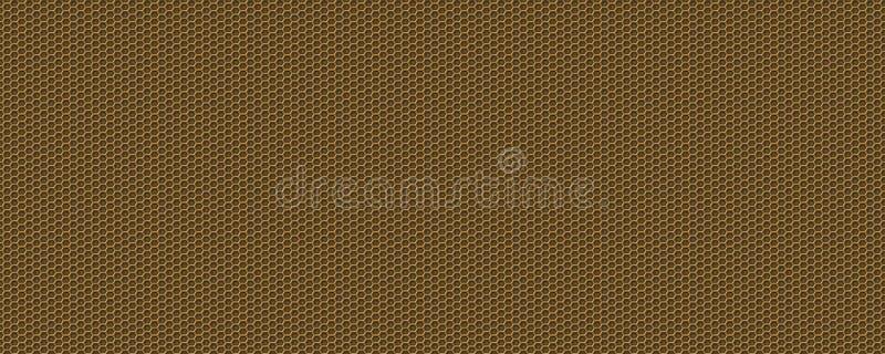 3D-Textur metallischer goldener Sechseckuntergrund lizenzfreie abbildung