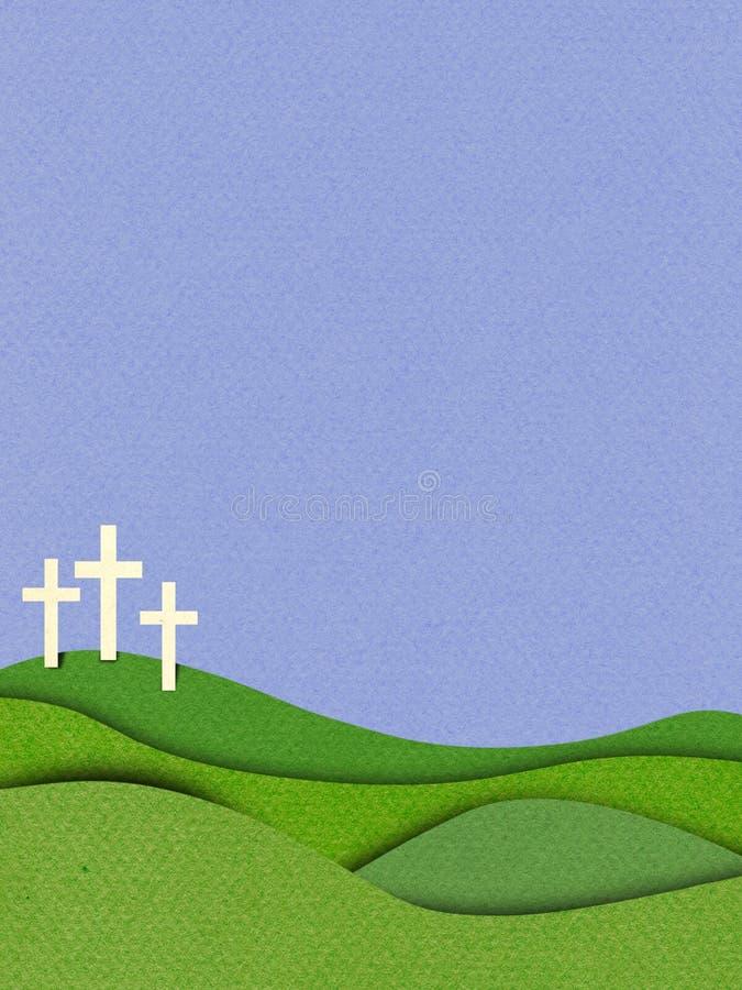 3d textured skutka Wielkanocnego Chrześcijańskiego tło z krzyżami royalty ilustracja