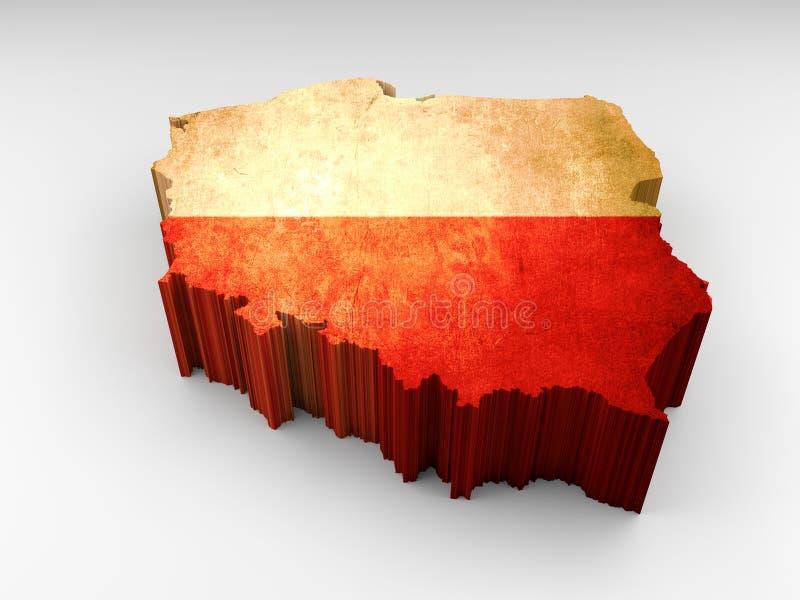3d texturerade den Polen översikten med en polsk flagga royaltyfri illustrationer