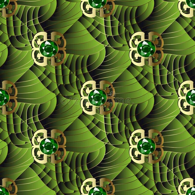 3d texturerade den sömlösa modellen för smyckengrekvektorn Geometriskt dekorativt ytbehandlar grön bakgrund Moderiktigt belagt me stock illustrationer