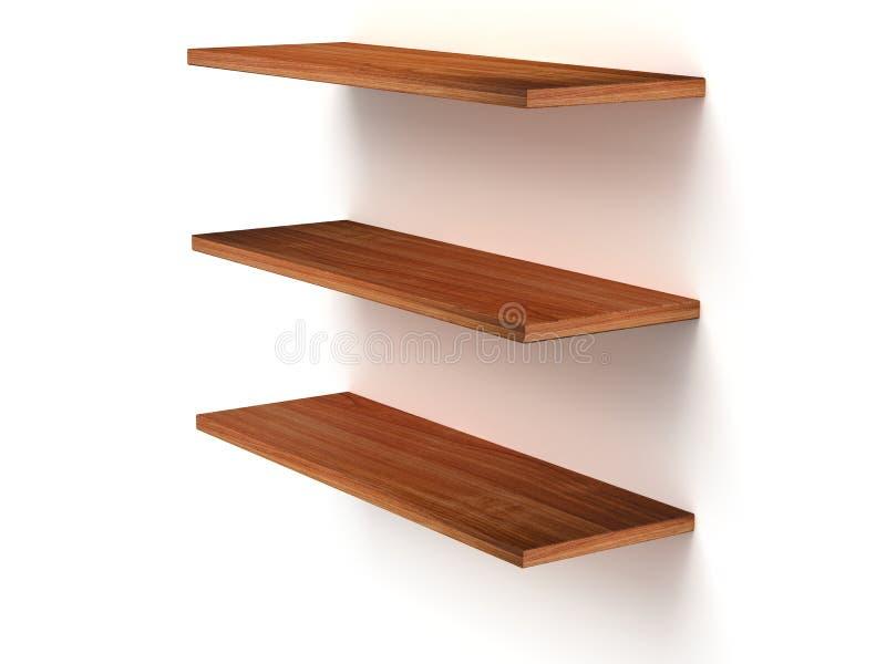 3D three empty wood shelves stock illustration
