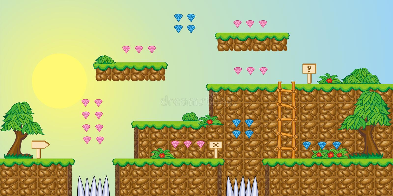 2D Tileset-Platformspel 3 stock illustratie