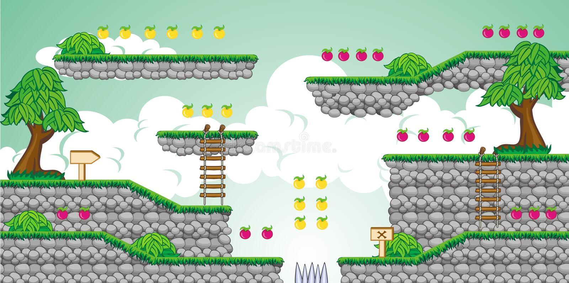 2D Tileset-Platformspel 23 stock illustratie
