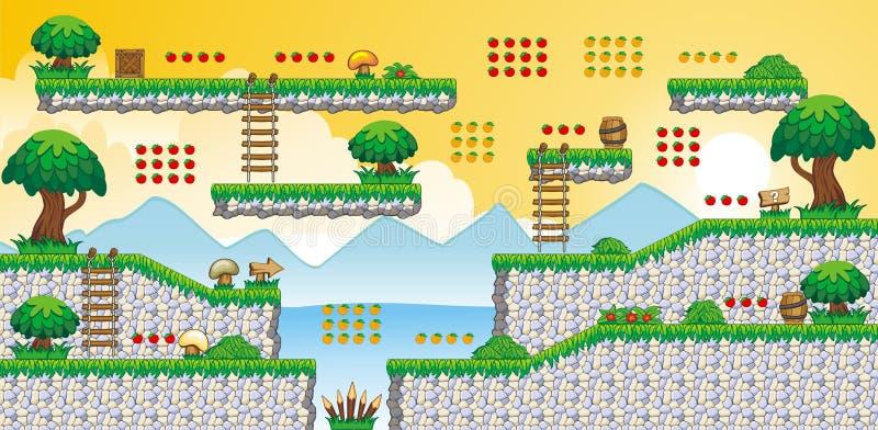 2D Tileset-Platformspel 60 royalty-vrije illustratie