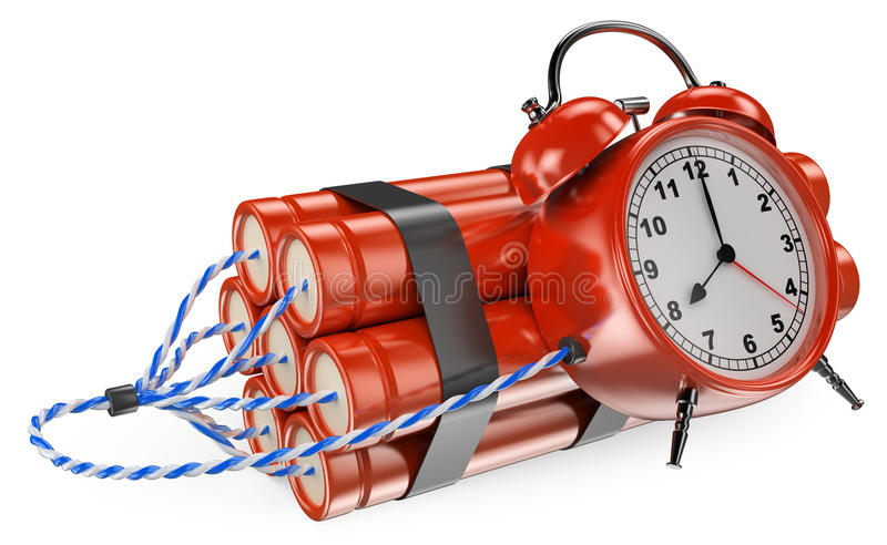 3D Time bomb. 3d white people. 3D Time bomb ready to explode. White background stock illustration