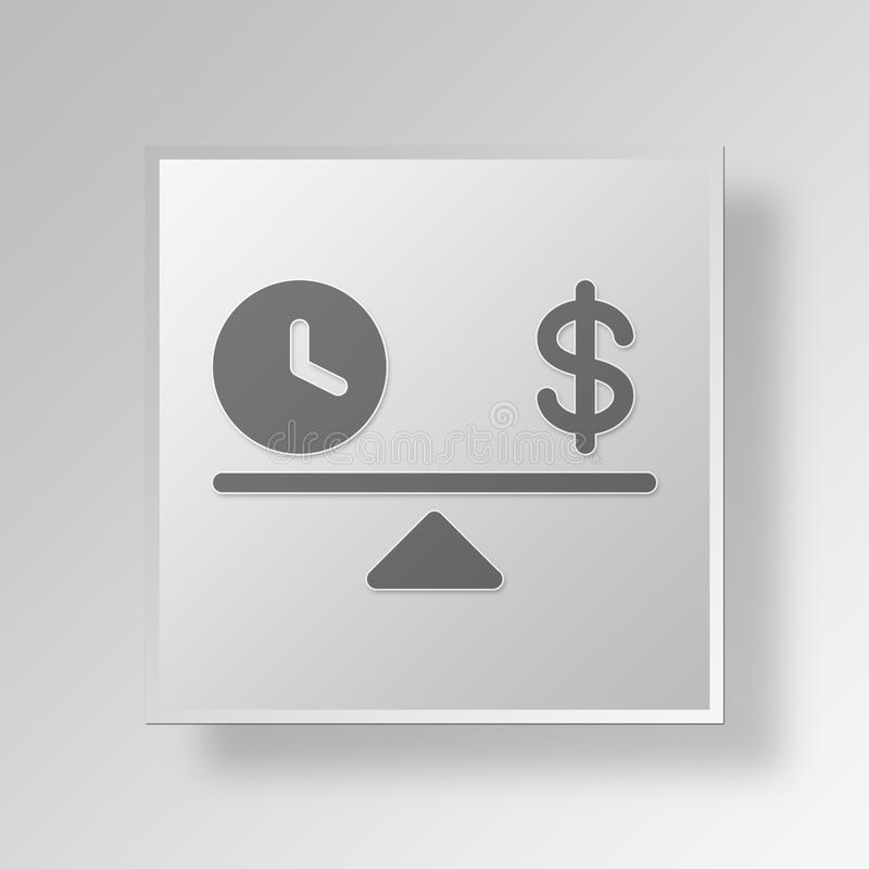3D time and money icon Business Concept stock illustration