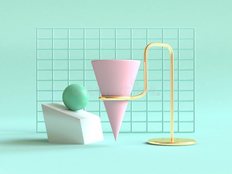3d todavía rinden el oro verde del fondo de la forma de la vida del rosa abstracto geométrico verde de la escena ilustración del vector