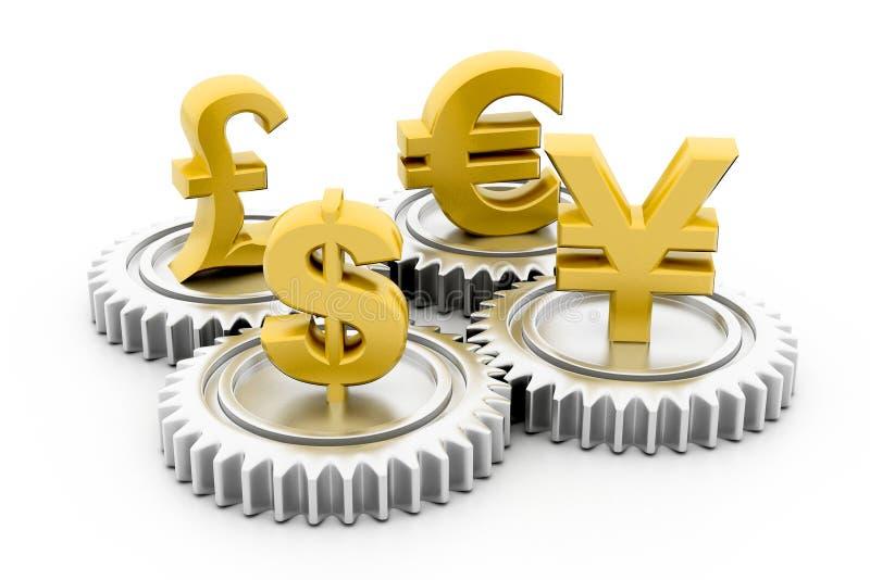 3d toestel met globale munt stock illustratie