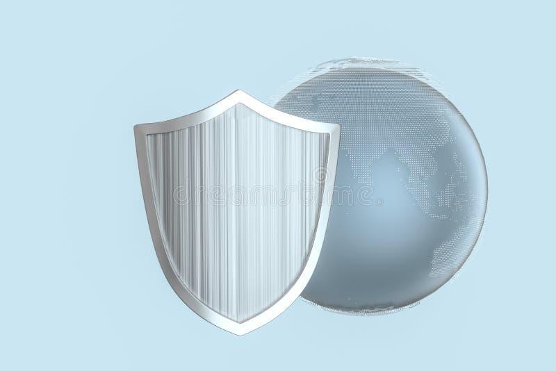 3d tolkning, en försvarsköld med teknologisk bakgrund royaltyfri illustrationer