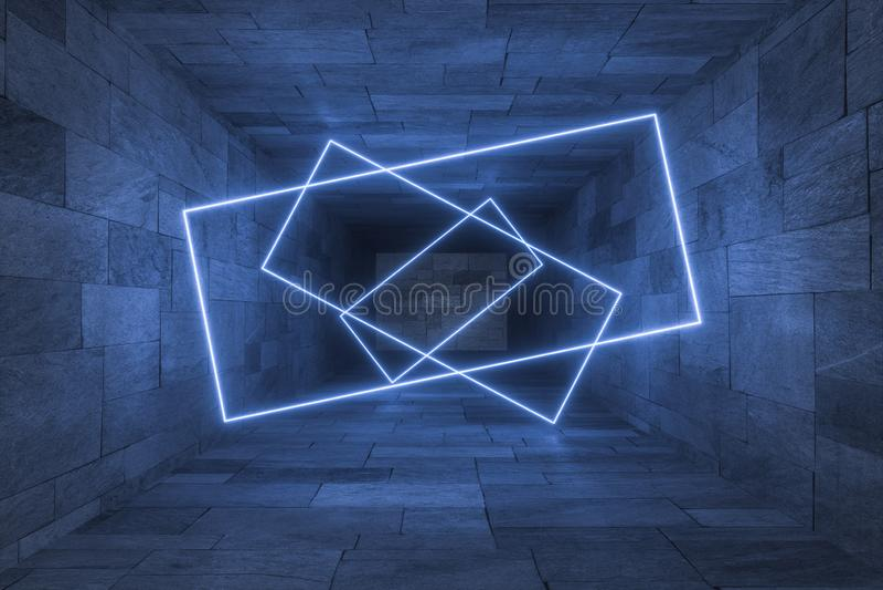 3d tolkning, gl?dande magiska linjer i anbanoned rum, m?rk bakgrund vektor illustrationer