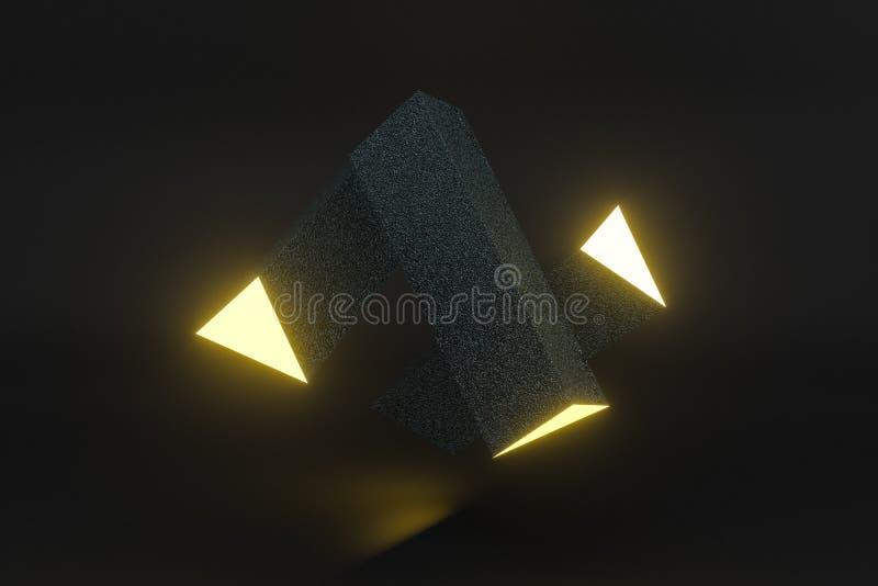 3d tolkning, gul glödande triangelpelare med mörk bakgrund vektor illustrationer