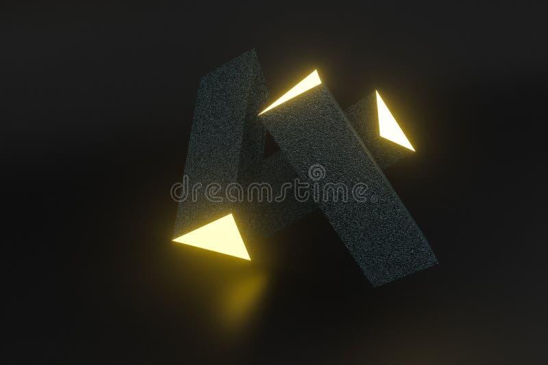 3d tolkning, gul gl?dande triangelpelare med m?rk bakgrund stock illustrationer