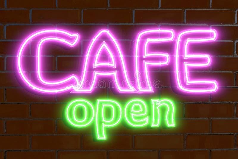 3D tolkning, illustration, neonadvertizing, öppet kafé, ljust bräde arkivbild
