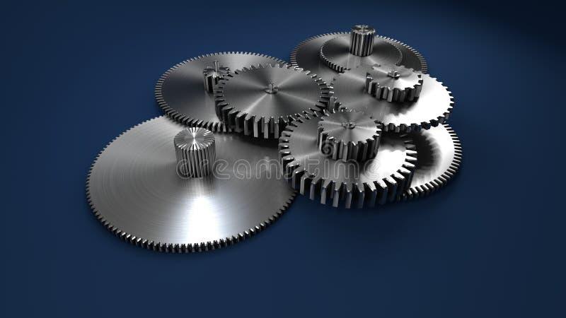 3D tolkning, metallkugghjul på mörker - blått fotografering för bildbyråer