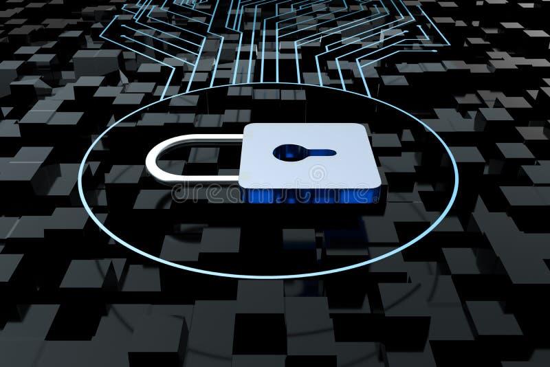 3d tolkning, metalllås med digital begreppsbakgrund stock illustrationer