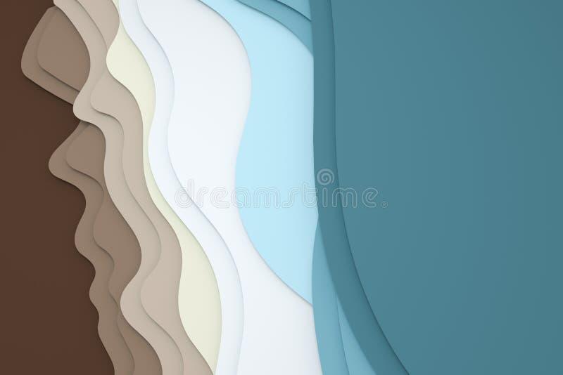 3d tolkning, multilayer bakgrund f?r papperssnittillustration stock illustrationer