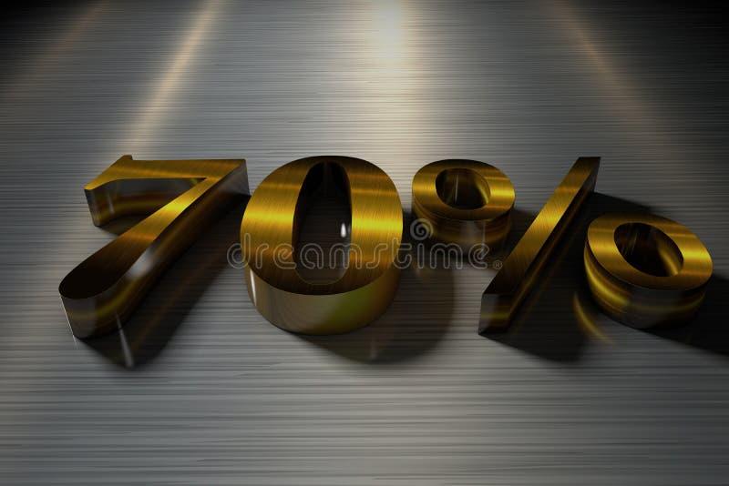 3D tolkning nummer 70% med en metalltextur stock illustrationer