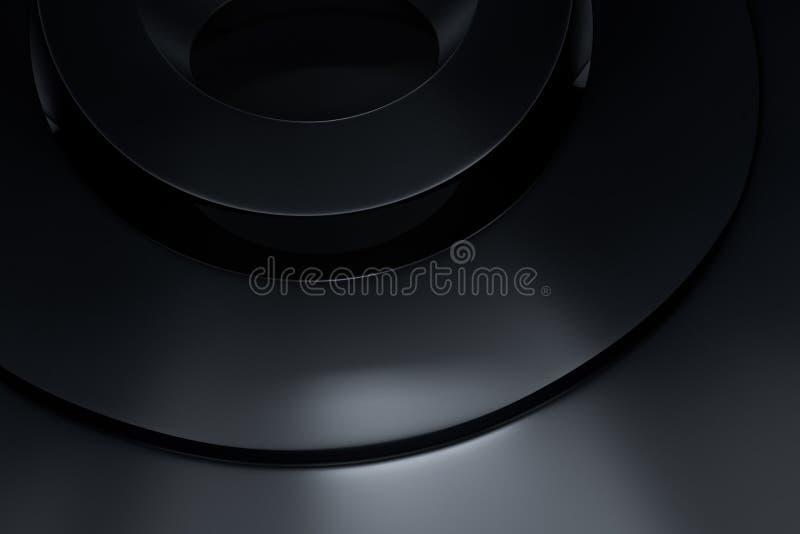 3d tolkning, svart sfäryttersida, industriell produkt för hög precision vektor illustrationer
