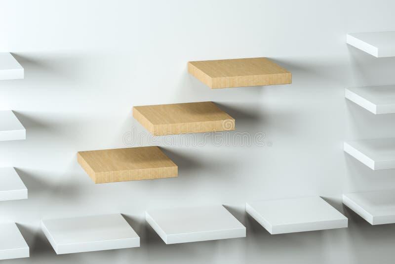 3d tolkning, träkubikplattformen i det vita tomma rummet royaltyfri illustrationer