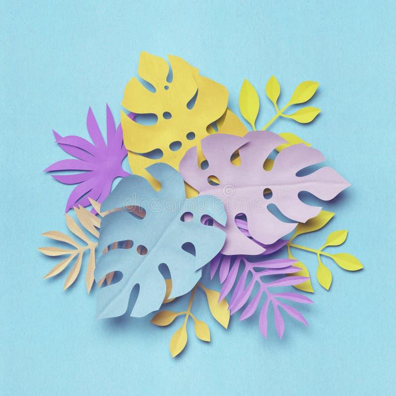 3d tolkning, tropiska pappers- sidor, dekorativ bukett, pastellfärgad botanisk bakgrund, djungelnatur, ljusa godisfärger stock illustrationer